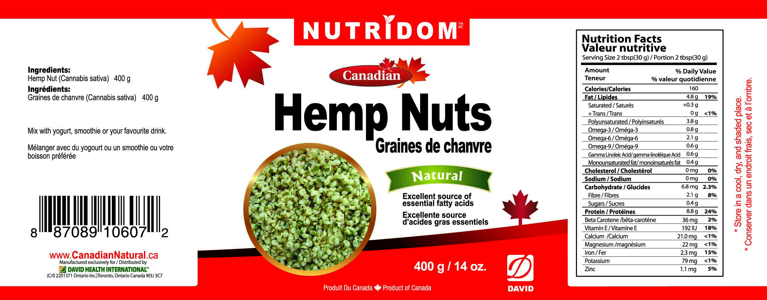 NUTRIDOM HEMP NUTS 400G
